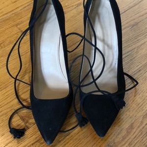 Jcrew black suede wrap around pumps size 10